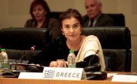 Unser Archivfoto (© Eurokinissi) zeigt Kulturministerin Lydia Koniordou während einer Pressekonferenz.
