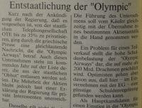"""Entstaatlichung der """"Olympic"""" in Griechenland"""