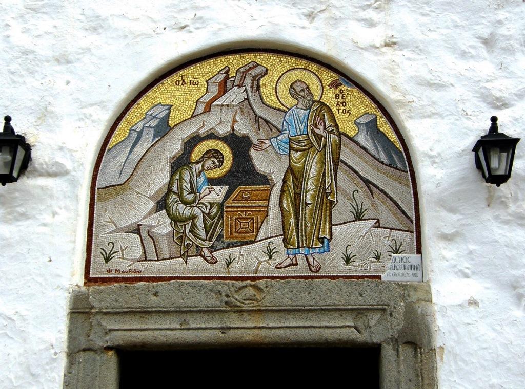 Johannes und sein Schüler das bekannteste Motiv auf Patmos small