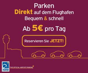 Banner: Parken Direkt auf dem Flughafen Athen