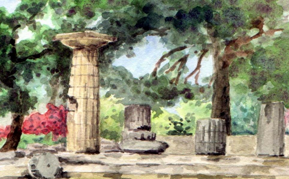 Aquarelle7 Am Hera Tempel