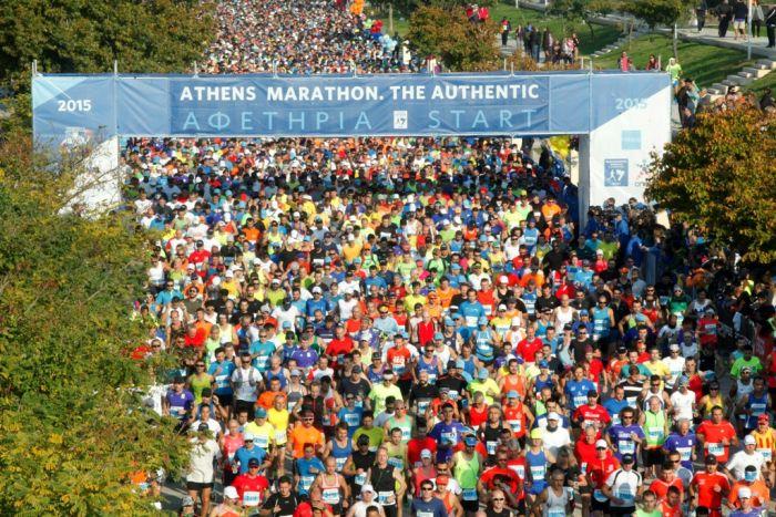 Rekordbeteiligung bei Athen-Marathon in Griechenland